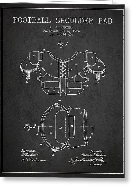 Nfl Drawings Greeting Cards - 1924 Football Shoulder Pad Patent - Charcoal Greeting Card by Aged Pixel