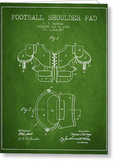 1924 Football Shoulder Pad Patent - Green Greeting Card by Aged Pixel