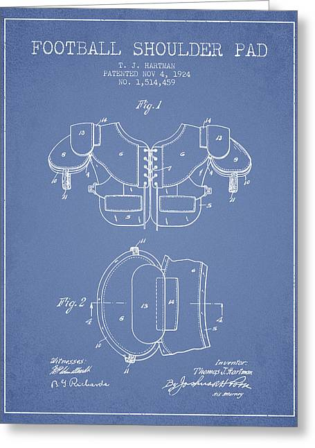 Nfl Drawings Greeting Cards - 1924 Football Shoulder Pad Patent - Light Blue Greeting Card by Aged Pixel