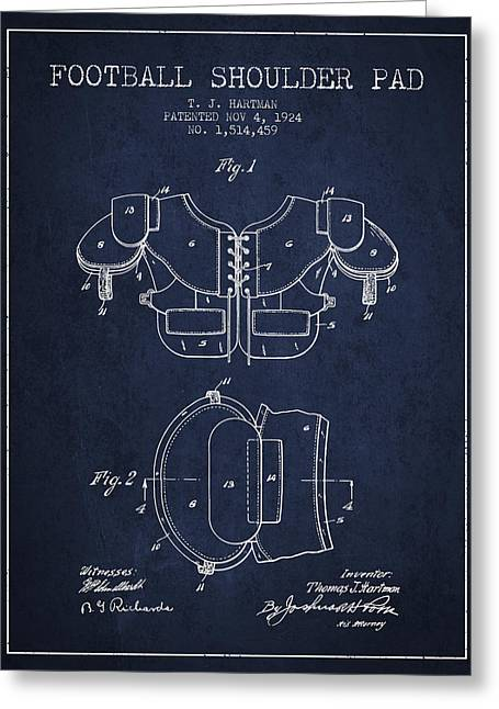 Player Drawings Greeting Cards - 1924 Football Shoulder Pad Patent - Navy Blue Greeting Card by Aged Pixel