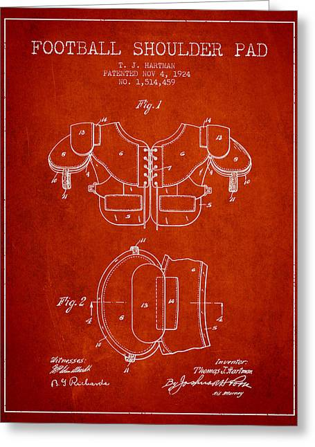 Player Drawings Greeting Cards - 1924 Football Shoulder Pad Patent - Red Greeting Card by Aged Pixel