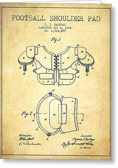 Nfl Drawings Greeting Cards - 1924 Football Shoulder Pad Patent - Vintage Greeting Card by Aged Pixel
