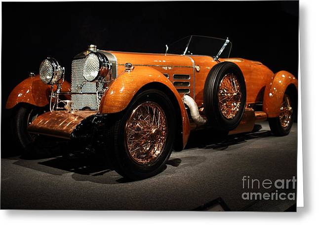 Suiza Greeting Cards - 1924 Hispano Suiza Dubonnet Tulipwood . Front Angle Greeting Card by Wingsdomain Art and Photography