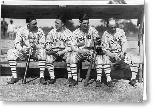 Discussing Photographs Greeting Cards - 1924 NY Giants Baseball Team Greeting Card by Underwood Archives