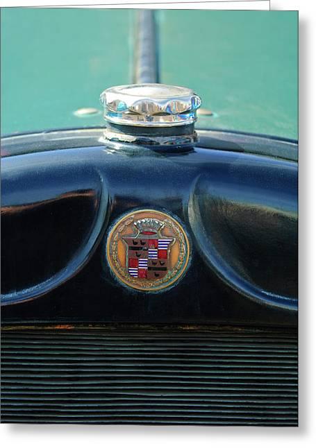 Car Mascot Greeting Cards - 1925 Cadillac Hood Ornament and Emblem Greeting Card by Jill Reger