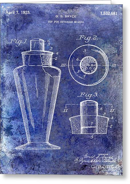 Mixed Drink Greeting Cards - 1925 Cocktail Shaker Patent Blue Greeting Card by Jon Neidert