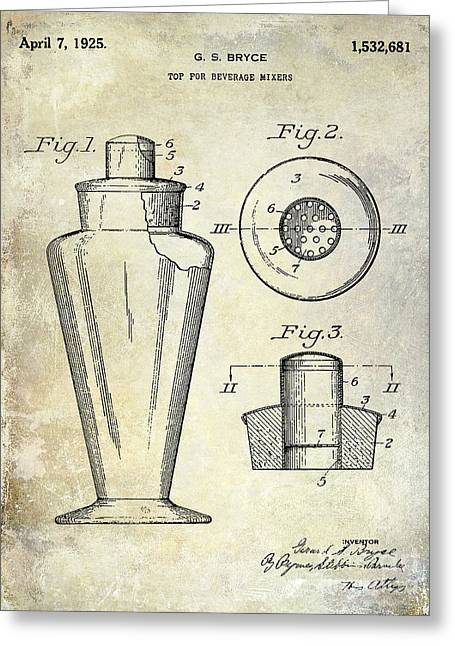Mixed Drink Greeting Cards - 1925 Cocktail Shaker Patent  Greeting Card by Jon Neidert