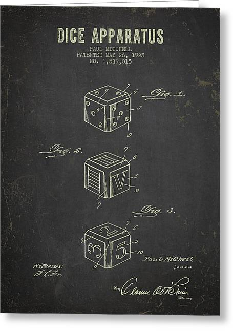 1925 Dice Apparatus Patent - Dark Grunge Greeting Card by Aged Pixel