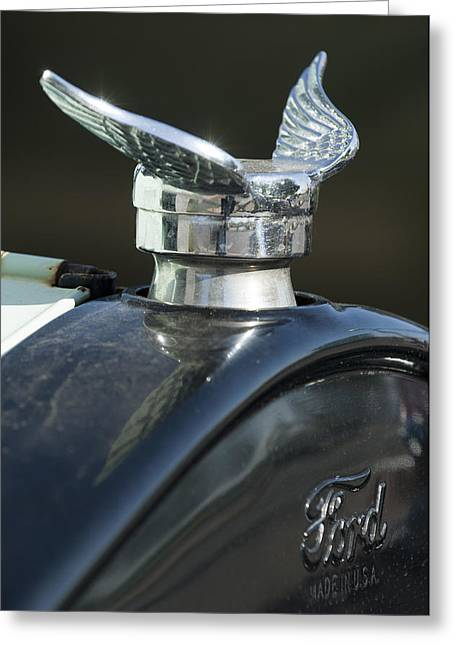 Ford Model T Car Greeting Cards - 1925 Ford Model T Hood Ornament Greeting Card by Jill Reger
