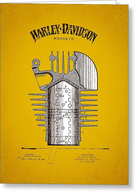 Motorcycle Engines Greeting Cards - 1925 Harley Davidson Cylinder Patent - Yellow Brown Greeting Card by Aged Pixel
