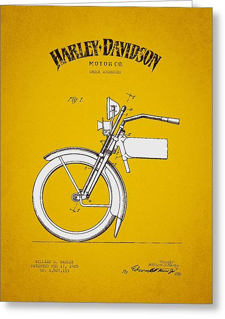 Motorcycle Engines Greeting Cards - 1925 Harley Davidson Shock Absorber Patent - Yellow Brown Greeting Card by Aged Pixel