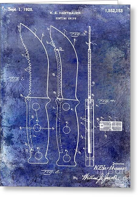 Hunting Greeting Cards - 1925 Hunting Knife Patent Blue Greeting Card by Jon Neidert