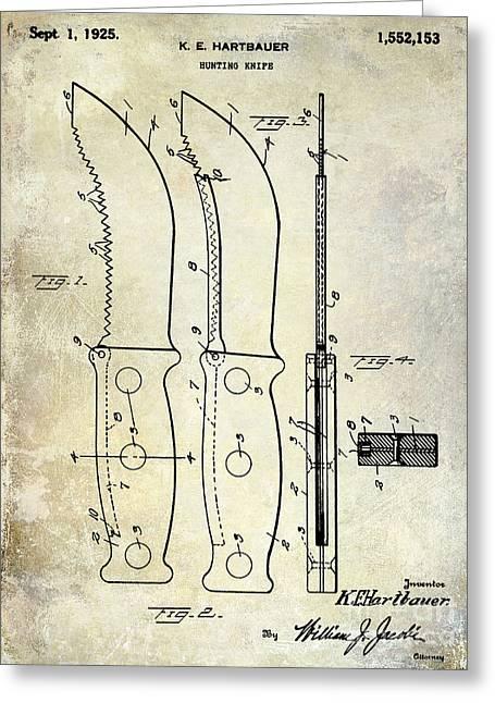 Hunting Greeting Cards - 1925 Hunting Knife Patent Greeting Card by Jon Neidert