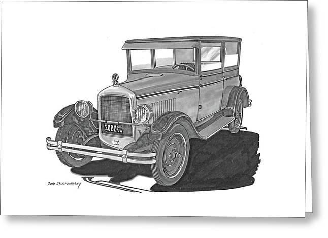 1925 Jewett 2 Door Touring Sedan Greeting Card by Jack Pumphrey