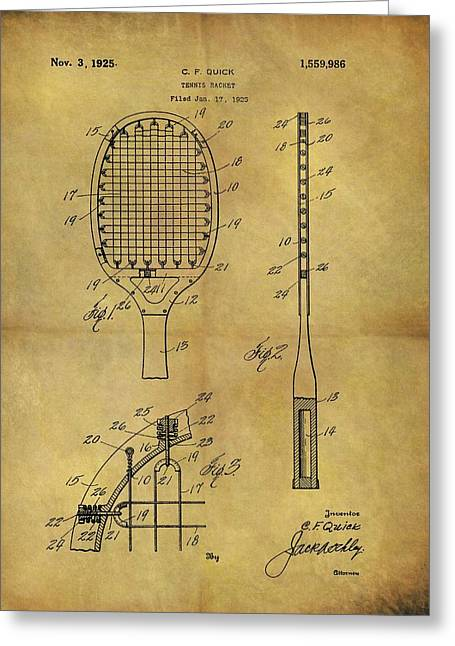 1925 Tennis Racket Patent Greeting Card by Dan Sproul