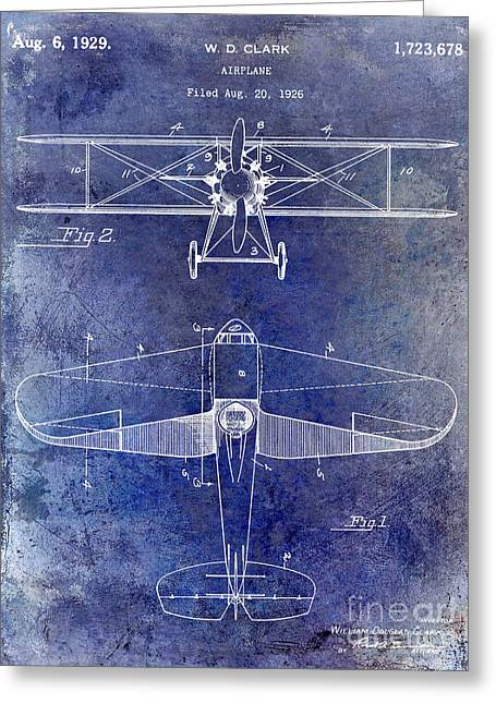 Antique Airplane Greeting Cards - 1929 Airplane Patent Blue Greeting Card by Jon Neidert