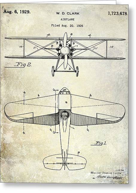Antique Airplane Greeting Cards - 1929 Airplane Patent Greeting Card by Jon Neidert
