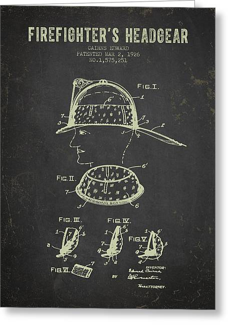 Rescue Greeting Cards - 1926 Firefighters Headgear Patent - Dark Grunge Greeting Card by Aged Pixel