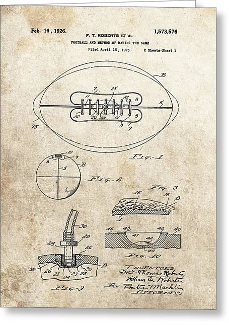 1926 Football Patent Illustration Greeting Card by Dan Sproul