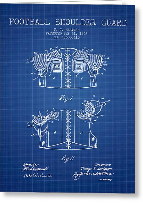 National Drawings Greeting Cards - 1926 Football Shoulder Guard Patent - Blueprint Greeting Card by Aged Pixel