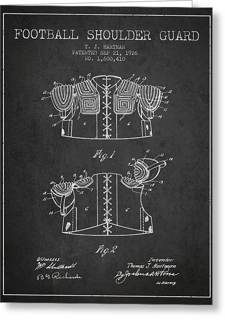 National Drawings Greeting Cards - 1926 Football Shoulder Guard Patent - Charcoal Greeting Card by Aged Pixel