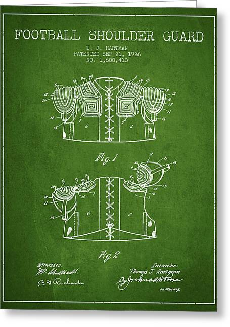 1926 Football Shoulder Guard Patent - Green Greeting Card by Aged Pixel