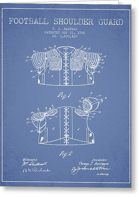 National Drawings Greeting Cards - 1926 Football Shoulder Guard Patent - Light Blue Greeting Card by Aged Pixel