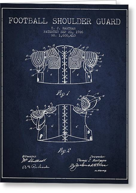 National Drawings Greeting Cards - 1926 Football Shoulder Guard Patent - Navy Blue Greeting Card by Aged Pixel