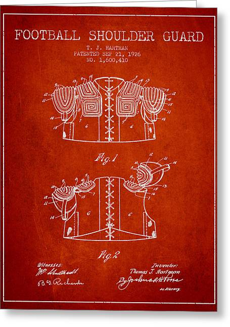 National Drawings Greeting Cards - 1926 Football Shoulder Guard Patent - Red Greeting Card by Aged Pixel