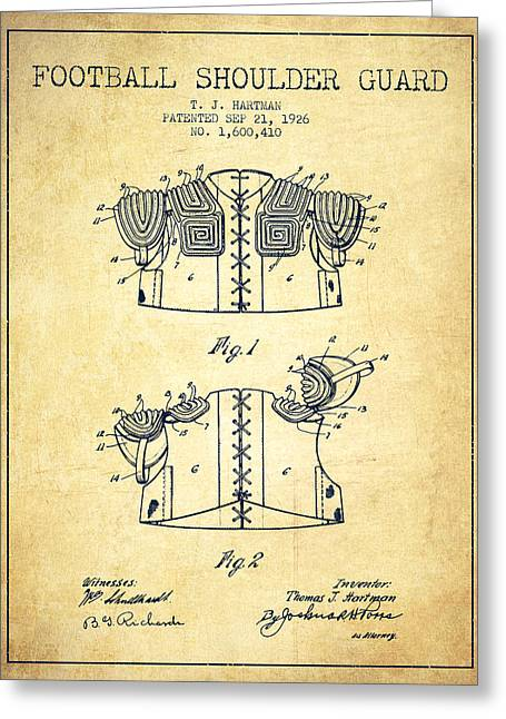 National Drawings Greeting Cards - 1926 Football Shoulder Guard Patent - Vintage Greeting Card by Aged Pixel