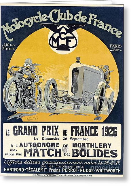 Bike Race Greeting Cards - 1926 Motorcycle Club de France Greeting Card by Jon Neidert