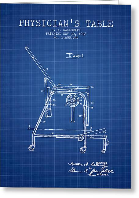 Medical Drawings Greeting Cards - 1926 Physicians Table patent - Blueprint Greeting Card by Aged Pixel