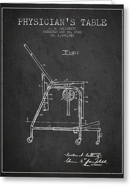 Medical Drawings Greeting Cards - 1926 Physicians Table patent - Charcoal Greeting Card by Aged Pixel