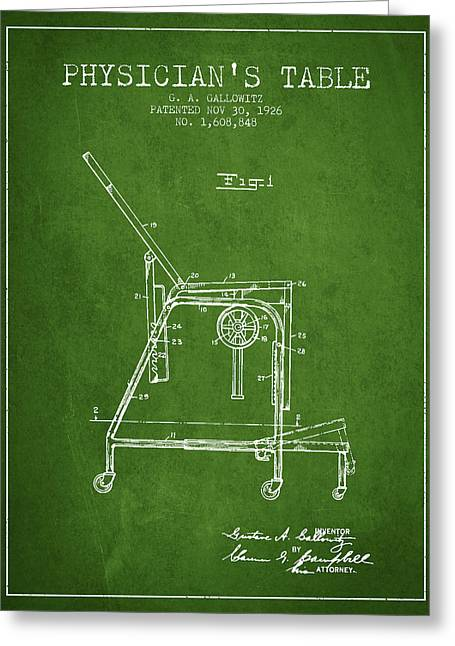 Medical Drawings Greeting Cards - 1926 Physicians Table patent - Green Greeting Card by Aged Pixel