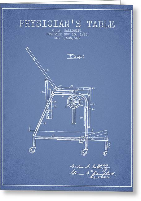 Medical Drawings Greeting Cards - 1926 Physicians Table patent - Light Blue Greeting Card by Aged Pixel