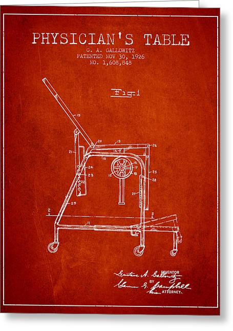 Medical Drawings Greeting Cards - 1926 Physicians Table patent - Red Greeting Card by Aged Pixel
