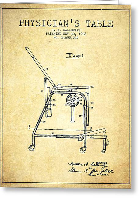 Medical Drawings Greeting Cards - 1926 Physicians Table patent - Vintage Greeting Card by Aged Pixel