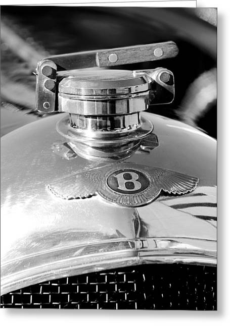 1927 Bentley Hood Ornament 2 Greeting Card by Jill Reger