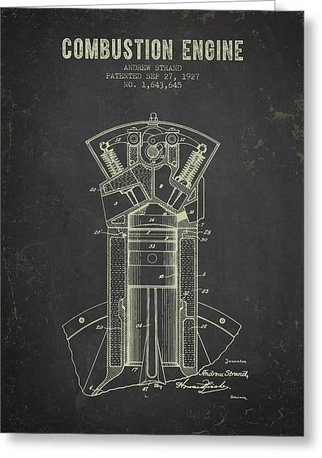 Motorcycle Engines Greeting Cards - 1927 Compustion Engine Patent - Dark Grunge Greeting Card by Aged Pixel