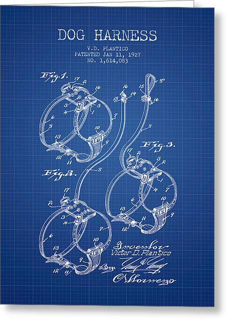 Dog Drawings Greeting Cards - 1927 Dog Harness Patent - Blueprint Greeting Card by Aged Pixel