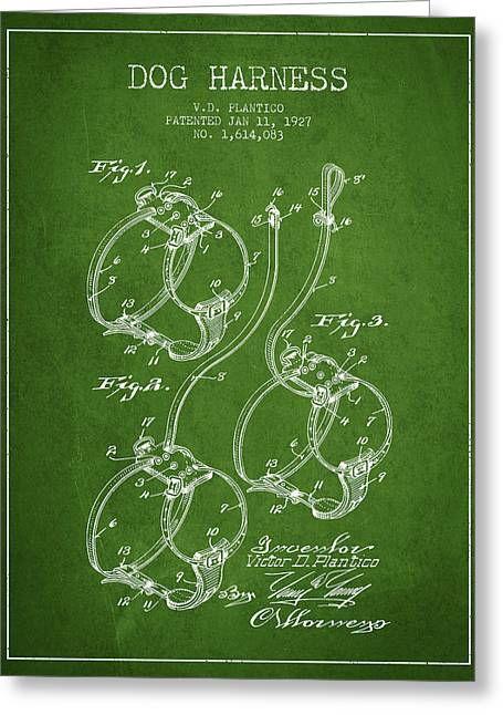 Dog Drawings Greeting Cards - 1927 Dog Harness Patent - Green Greeting Card by Aged Pixel