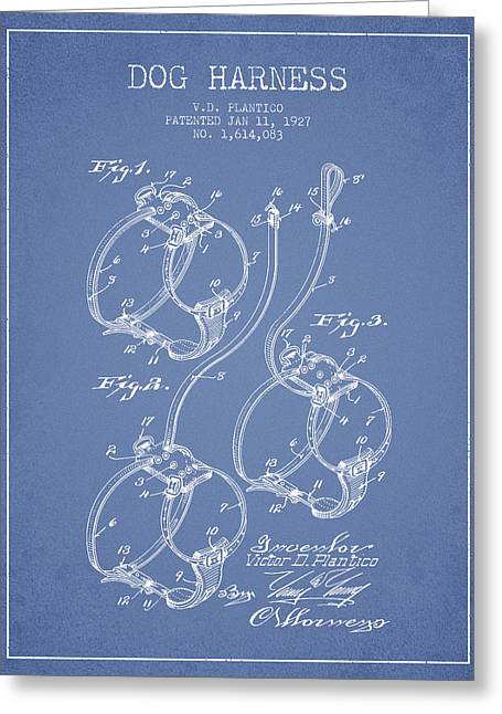 Dog Drawings Greeting Cards - 1927 Dog Harness Patent - Light Blue Greeting Card by Aged Pixel