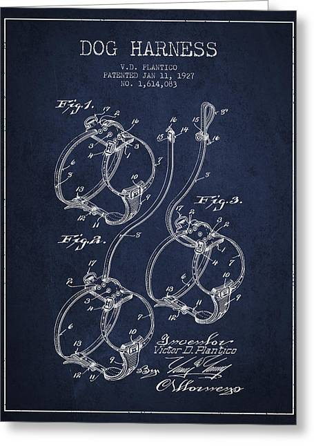Dog Drawings Greeting Cards - 1927 Dog Harness Patent - Navy Blue Greeting Card by Aged Pixel