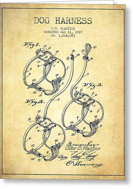 Dog Drawings Greeting Cards - 1927 Dog Harness Patent - Vintage Greeting Card by Aged Pixel
