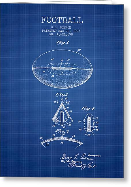 American Football Art Drawings Greeting Cards - 1927 Football Patent - Blueprint Greeting Card by Aged Pixel