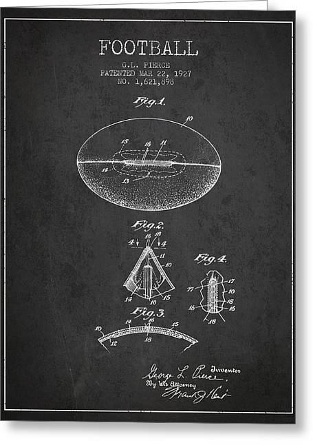 Player Drawings Greeting Cards - 1927 Football Patent - Charcoal Greeting Card by Aged Pixel