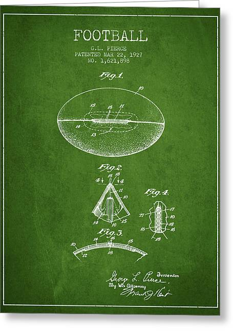 Football Drawings Greeting Cards - 1927 Football Patent - green Greeting Card by Aged Pixel
