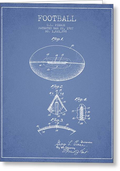 1927 Football Patent - Light Blue Greeting Card by Aged Pixel