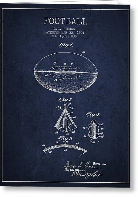 American Football Art Drawings Greeting Cards - 1927 Football Patent - navy blue Greeting Card by Aged Pixel