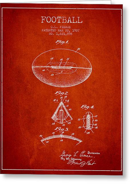 Football Drawings Greeting Cards - 1927 Football Patent - red Greeting Card by Aged Pixel